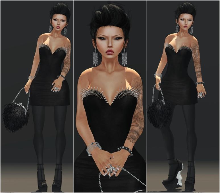 FANATIK Dress with spikes Black