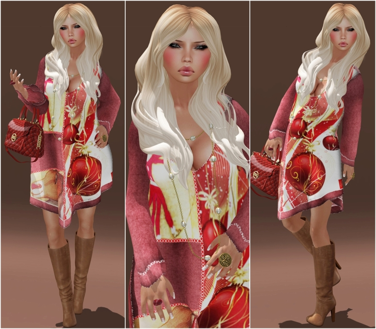 {MoYaz} Beau Mesh Dress Rudolph-NEW!!